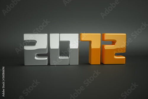 3d new year 2012 shape on grey background