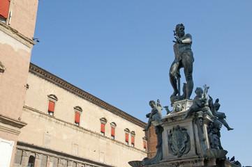 Triton Fountain in the Main Square of Bologna Italy
