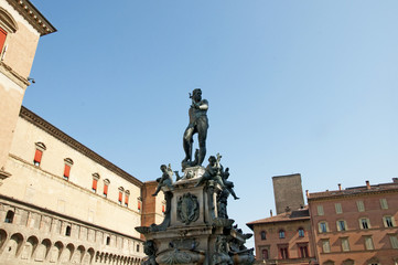 Triton Fountain in the Main Square of Bologna Italy