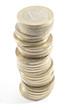 Montón de monedas de 1 euro apilados