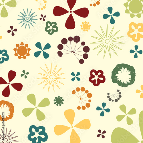 Two flowers on a beige background