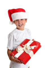 happy child with Christmas gift
