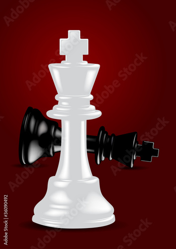 Chess White King - Winner / Success - Vector Illustration