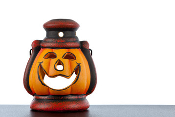 Halloween lantern on white background