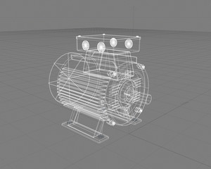 Wireframe 3D blueprint of electric motor