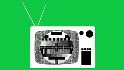 Old tv icon on greenscreen