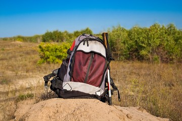 touristic backpack in a steppe