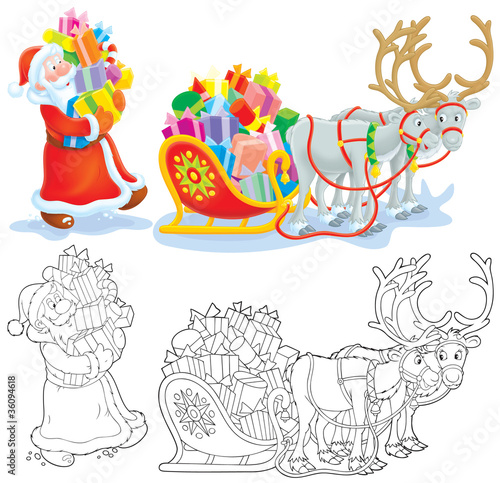 Santa loads Christmas gifts in his sleigh