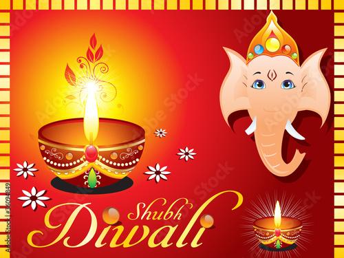 abstract diwali greeting card with ganesh ji