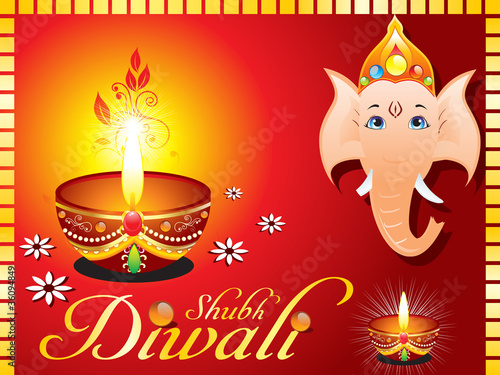 abstract diwali greeting card with ganesh ji