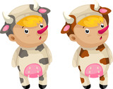 cosplay cow so cute isolated vector illustrator poster