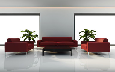 Minimal white interior with red sofa set rendering
