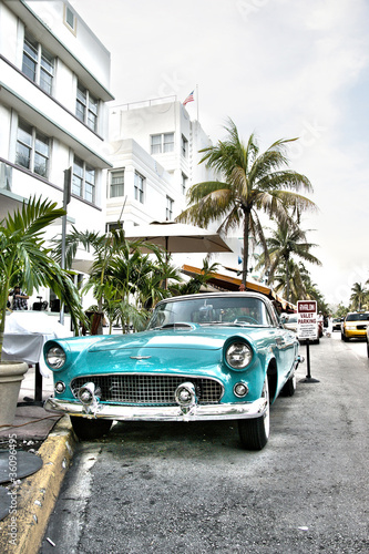 Classic american car on South Beach, Miami