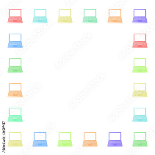 Photo: Border of coloured computers