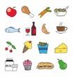 iconos de comida y bebida en color
