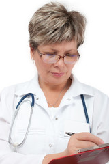 Woman doctor writing prescription