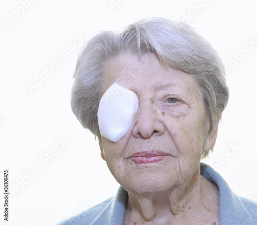 Senior Woman after Eye Surgery