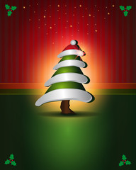 Christmas cards Red Green tree