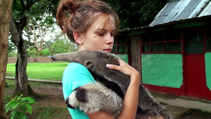 girl and baby anteater