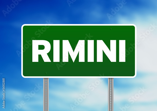 Green Road Sign - Rimini, Italy