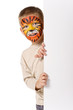 Kid with tiger painted face. On white background