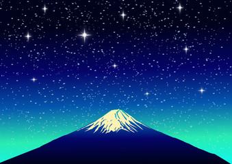 Fuji Mountain on Star Background