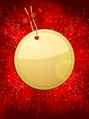 Christmas gift tag background circular red