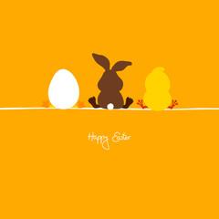 Easter Bunny, Egg & Chick Orange
