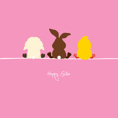 Easter Bunny, Lamb & Chick Pink