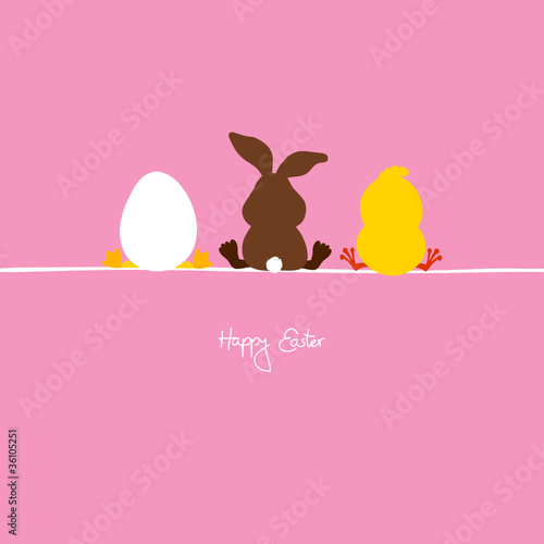 Easter Bunny, Egg & Chick Pink