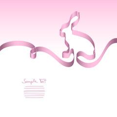 Card Pink Ribbon Easter Bunny
