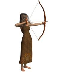 Wood Elf Archer Girl with Bow and Arrow
