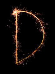 Letter D. Real sparkler alphabet