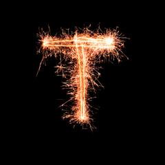 Letter T. Real sparkler alphabet