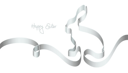 """Silver Ribbon Easter Bunny """"Happy Easter"""""""