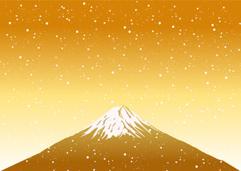 Fuji Mountain on Snow Background,vector image