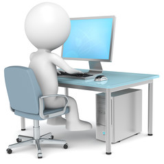 3D little human character Searching on Internet. Blue Desktop