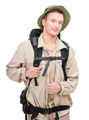 young man dressed in a tourist