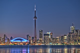 Toronto night skyline CN Tower downtown skyscrapers sunset Canad