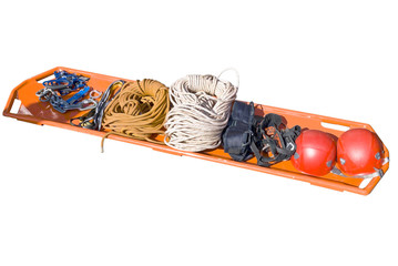 Stretchers, helmet, cordages and other rescue facilities