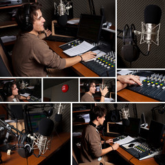 Collection of radio dj man at radio studio