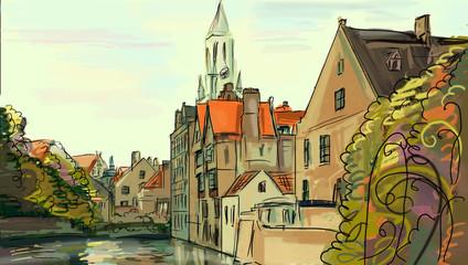 Illustration to the autumn old town
