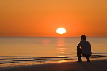 Träumer beim Sonnenuntergang.