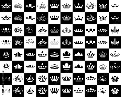 crown icons design set