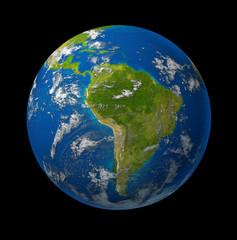 South America earth globe planet on black