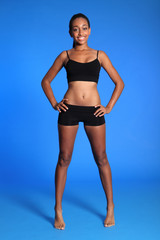 Fit healthy body young african american woman