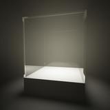 Illuminated empty glass showcase poster