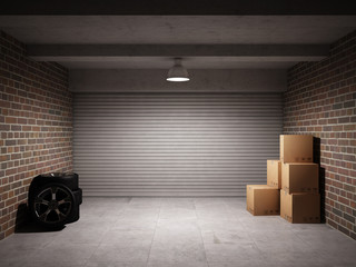 Garage with car spare parts