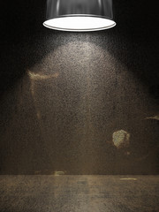 Old rusty metal plate illuminated by lamp