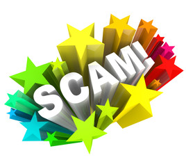 Scam 3D Word Swindle Con Game to Cheat You Out of Money